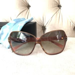 Oliver Peoples Tan & Pink Large Sunglasses